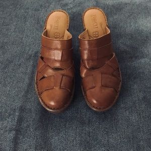 Born leather platform clogs
